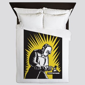 Welder Metal Worker Welding Retro Queen Duvet